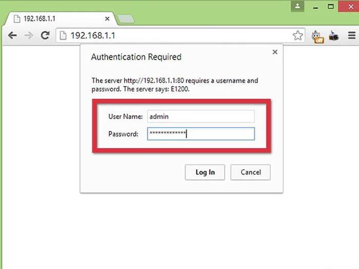 وارد کردن نام کاربری و رمز عبور در صفحه تنظیمات مودم