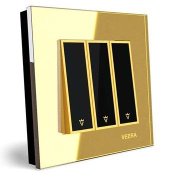 کلید سه پل توکار ویرا الکتریک مدل امگا طلایی طلایی مشکی