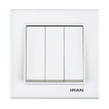 کلید سه پل توکار ایران الکتریک مدل برلیان سفید