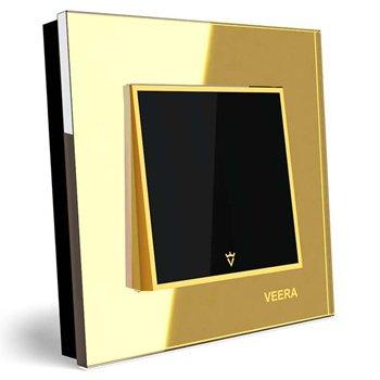 کلید تک پل توکار ویرا الکتریک مدل امگا طلایی طلایی مشکی