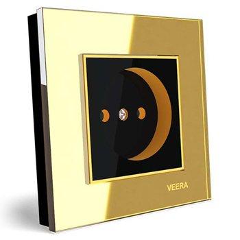 پریز برق توکار ویرا الکتریک مدل امگا طلایی طلایی مشکی