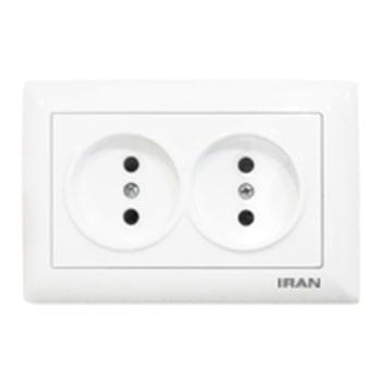 پریز برق افقی توکار ایران الکتریک مدل الیزه سفید