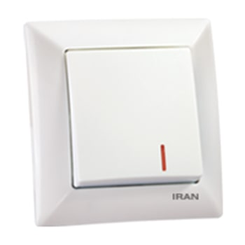 کلید تک پل توکار ایران الکتریک مدل الیزه سفید