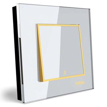 کلید تک پل توکار ویرا الکتریک مدل امگا سفید طلایی سفید